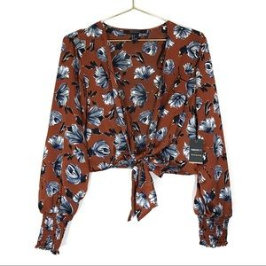 Forever 21 Crop Top Long Sleeve Floral